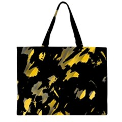 Painter Was Here - Yellow Zipper Large Tote Bag by Valentinaart