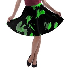 Painter Was Here   Green A Line Skater Skirt by Valentinaart
