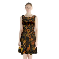 Abstract Autumn  Sleeveless Chiffon Waist Tie Dress by Valentinaart