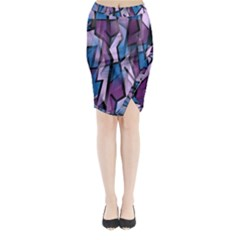 Purple Decorative Abstract Art Midi Wrap Pencil Skirt by Valentinaart