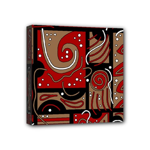 Red And Brown Abstraction Mini Canvas 4  X 4  by Valentinaart