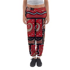 Red And Brown Abstraction Women s Jogger Sweatpants by Valentinaart