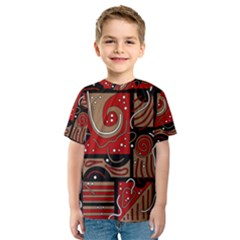Red And Brown Abstraction Kids  Sport Mesh Tee by Valentinaart