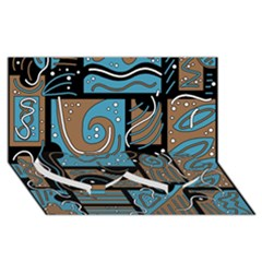 Blue And Brown Abstraction Twin Heart Bottom 3d Greeting Card (8x4) by Valentinaart