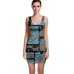 Blue And Brown Abstraction Sleeveless Bodycon Dress by Valentinaart