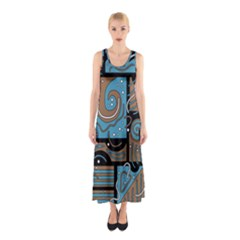 Blue And Brown Abstraction Sleeveless Maxi Dress