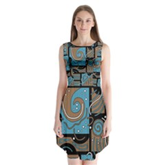 Blue And Brown Abstraction Sleeveless Chiffon Dress