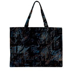 Blue Town Zipper Mini Tote Bag by Valentinaart