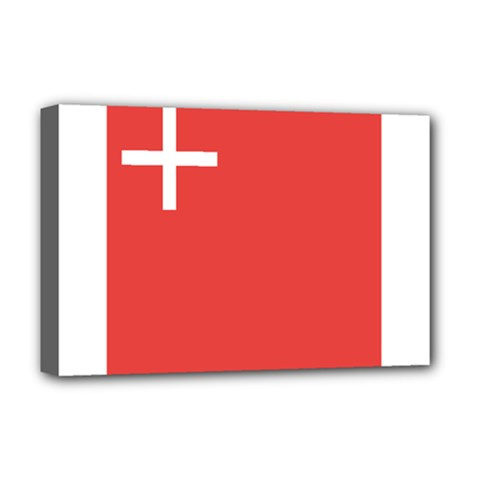 Flag Of Canton Of Schwyz Deluxe Canvas 18  X 12