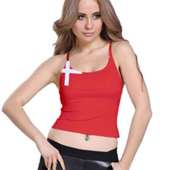 Flag Of Canton Of Schwyz Spaghetti Strap Bra Top by abbeyz71