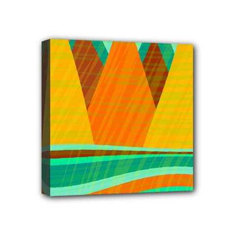 Orange And Green Landscape Mini Canvas 4  X 4  by Valentinaart