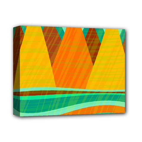 Orange And Green Landscape Deluxe Canvas 14  X 11  by Valentinaart