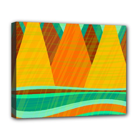 Orange And Green Landscape Deluxe Canvas 20  X 16   by Valentinaart