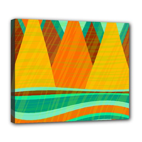 Orange And Green Landscape Deluxe Canvas 24  X 20   by Valentinaart