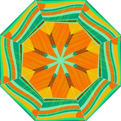 Orange And Green Landscape Hook Handle Umbrellas (medium) by Valentinaart