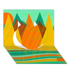 Orange And Green Landscape Heart 3d Greeting Card (7x5) by Valentinaart