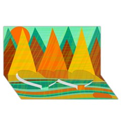Orange And Green Landscape Twin Heart Bottom 3d Greeting Card (8x4) by Valentinaart
