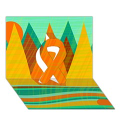 Orange And Green Landscape Ribbon 3d Greeting Card (7x5)