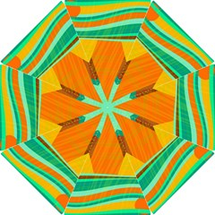 Orange And Green Landscape Hook Handle Umbrellas (small) by Valentinaart