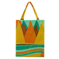 Orange And Green Landscape Classic Tote Bag by Valentinaart