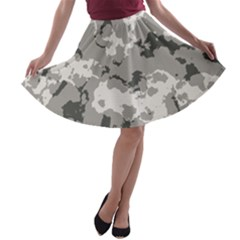 Winter Camouflage A Line Skater Skirt