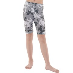 Winter Camouflage Kids  Mid Length Swim Shorts