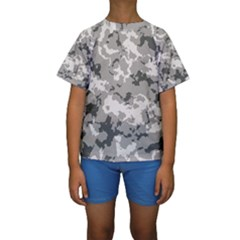 Winter Camouflage Kids  Short Sleeve Swimwear