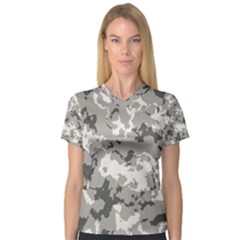 Winter Camouflage Women s V Neck Sport Mesh Tee by LetsDanceHaveFun