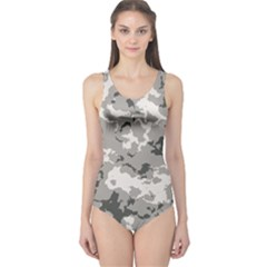 Winter Camouflage One Piece Swimsuit by LetsDanceHaveFun