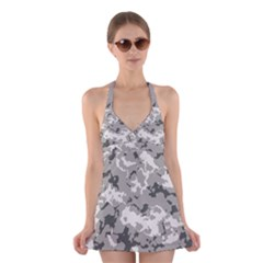 Winter Camouflage Halter Swimsuit Dress