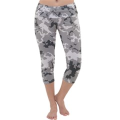 Winter Camouflage Capri Yoga Leggings by LetsDanceHaveFun