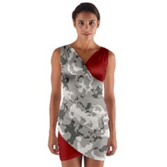 Winter Camouflage Wrap Front Bodycon Dress by LetsDanceHaveFun