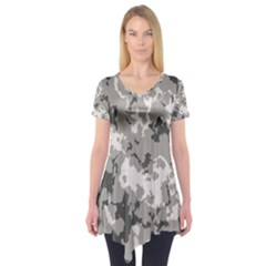 Winter Camouflage Short Sleeve Tunic  by LetsDanceHaveFun