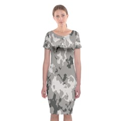Winter Camouflage Classic Short Sleeve Midi Dress by LetsDanceHaveFun