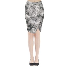 Winter Camouflage Midi Wrap Pencil Skirt