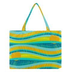 Yellow And Blue Decorative Design Medium Tote Bag by Valentinaart