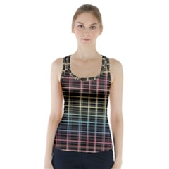 Neon Plaid Design Racer Back Sports Top by Valentinaart