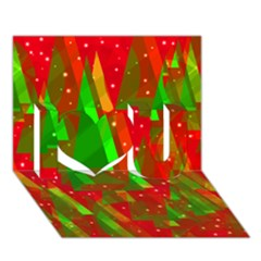 Xmas Trees Decorative Design I Love You 3d Greeting Card (7x5)