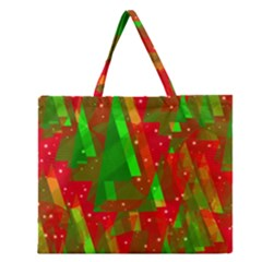 Xmas Trees Decorative Design Zipper Large Tote Bag by Valentinaart