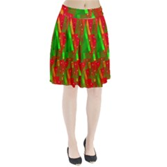 Xmas Trees Decorative Design Pleated Skirt by Valentinaart