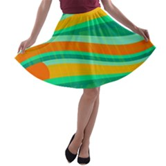Green And Orange Decorative Design A-line Skater Skirt by Valentinaart