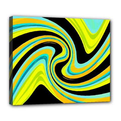 Blue And Yellow Deluxe Canvas 24  X 20   by Valentinaart