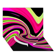 Magenta And Yellow Circle Bottom 3d Greeting Card (7x5) by Valentinaart