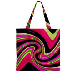 Magenta And Yellow Zipper Grocery Tote Bag by Valentinaart