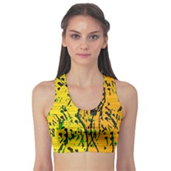 Gentle Yellow Abstract Art Sports Bra by Valentinaart