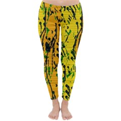 Gentle Yellow Abstract Art Winter Leggings  by Valentinaart