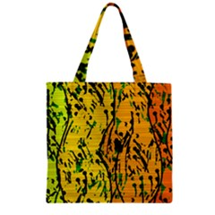 Gentle Yellow Abstract Art Zipper Grocery Tote Bag by Valentinaart