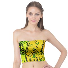 Gentle Yellow Abstract Art Tube Top by Valentinaart