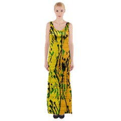 Gentle Yellow Abstract Art Maxi Thigh Split Dress by Valentinaart