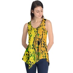 Gentle Yellow Abstract Art Sleeveless Tunic by Valentinaart